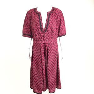 eShakti Eiffel Towel Dress In Red And Black